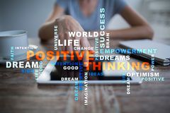 Positive thinking Life change. Business concept. Words cloud. royalty free stock photos
