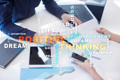 Positive thinking Life change. Business concept. Words cloud. Positive thinking Life change. Business concept. Words cloud stock images