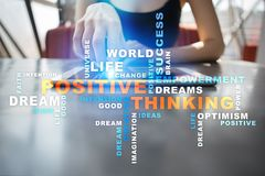 Positive thinking Life change. Business concept. Words cloud. stock image