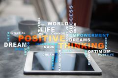Positive thinking Life change. Business concept. Words cloud. royalty free stock image