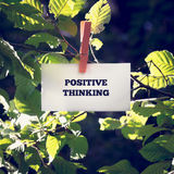 Positive Thinking Message Clipped on Green Plant. Close up Positive Thinking Message on White Small Paper Clipped on Green Plant Outdoor Stock Image