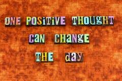 Positive thinking optimism change joy letterpress. Typography attitude thought thoughts believe attitude believe creativity reasoning relationship smile action stock image