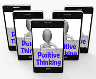 Positive Thinking Sign Shows Optimistic And Good Thoughts Stock Images