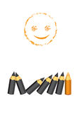 Positive thinking smiley face and color pencil. St Royalty Free Stock Photo