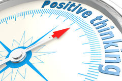 Positive thinking on white compass Royalty Free Stock Photography