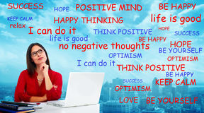 Positive thinking woman. Positive thinking young woman. Success and happiness background Royalty Free Stock Image