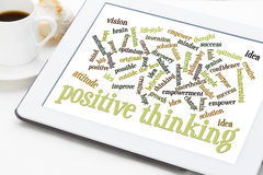 Positive thinking word cloud. Positive thinking and attitude word cloud on a white digital tablet with a cup of coffee Stock Image