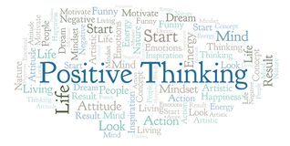Positive Thinking word cloud, made with text only. stock illustration