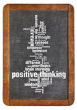 Positive thinking word cloud. Cloud of words or tags related to positive thinking on a  vintage slate blackboard isolated on white Royalty Free Stock Photography