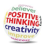 POSITIVE THINKING - wordcloud - SPHERE Royalty Free Stock Images