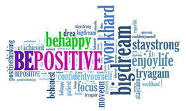 Positive thinking, words attitude concept. Stock Image