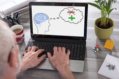 Positive thought concept on a laptop screen. Positive thought concept shown on a laptop used by a man Stock Photography