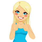 Positive Thumbs Up Blonde Woman Royalty Free Stock Photography