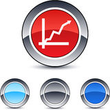 Positive trend round button. Royalty Free Stock Photography