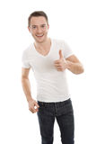 Positive tuned man thumbs up Stock Photo