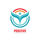 Positive - vector logo template concept illustration. Human character abstract sign and circles. People icon. Man figure symbol. Leaves emblem. Design element Royalty Free Stock Photos