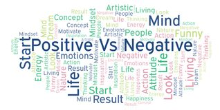 Positive Vs Negative word cloud, made with text only. royalty free illustration