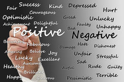 Positive vs negative. Writing positive and negative aspects of life on virtual board Stock Photos