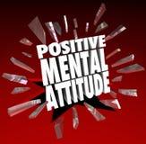 Positive Wörter der Geisteshaltungs-3d brechen durch Glas stock abbildung
