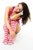 Positive woman with big smile in pink clothes Stock Photos