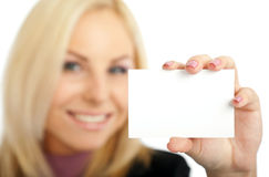 Positive woman blank business card Stock Images