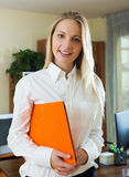 Positive woman in business outfit Royalty Free Stock Photo