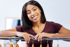 Beautiful portrait of a positive atelier worker standing and smiling Stock Images