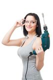 Positive woman hold drill Stock Photos