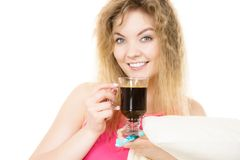Positive woman drinking her morning coffee Stock Images
