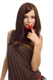 Positive woman with red beads Royalty Free Stock Images