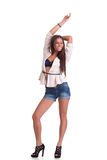 Positive woman in shorts Stock Photography