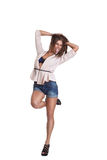 Positive woman in shorts Royalty Free Stock Image
