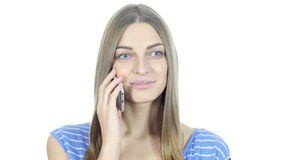 Positive Woman Talking On Smartphone, White Background,Young,,,,. Positive Woman Talking On Smartphone, White Background , young creative designer , good looking stock footage