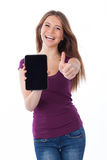 Positive, woman and touchpad Royalty Free Stock Photo