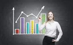 Positive woman and two graphs Stock Image
