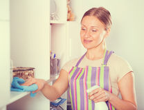 Positive woman wiping shelves Royalty Free Stock Image