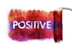 The positive word painting. Color full on white paper by roll painter,isolated Stock Photos