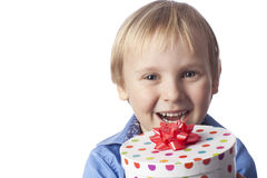 Boy with present Royalty Free Stock Photos