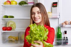 Positive young attractive woman holds lettuce, being vegeterian, stands against opened refrigerator full of fruit and vegetables,. Supports healthy eatting Royalty Free Stock Image