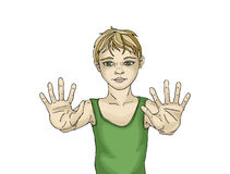 Positive young boy showing his hands. He stretched his arms. Forward. All ten fingers are visible. Drawn in black ink on a white background Royalty Free Stock Image