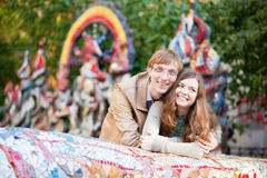 Positive young couple having fun Royalty Free Stock Image