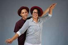 Positive young couple stock photography