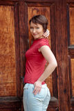 Positive young woman outdoors Royalty Free Stock Images
