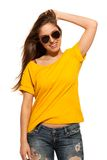 Positive young woman in sunglasses Royalty Free Stock Photo