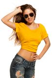 Positive young woman in sunglasses Stock Photos