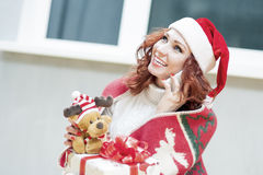 Positively Looking Expressive Red-Haired Caucasian Santa Helper Royalty Free Stock Images