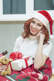 Positively Looking Expressive Red-Haired Caucasian Santa Helper Royalty Free Stock Image