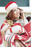 Positively Looking Expressive Red-Haired Caucasian Santa Helper Stock Image