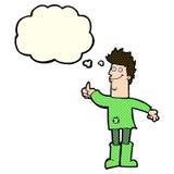 positiver denkender Mann der Karikatur in den Lappen mit Gedankenblase Stockfotografie