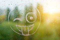 Positiver lustiger smiley auf regnerischem Herbstfenster Stockbild